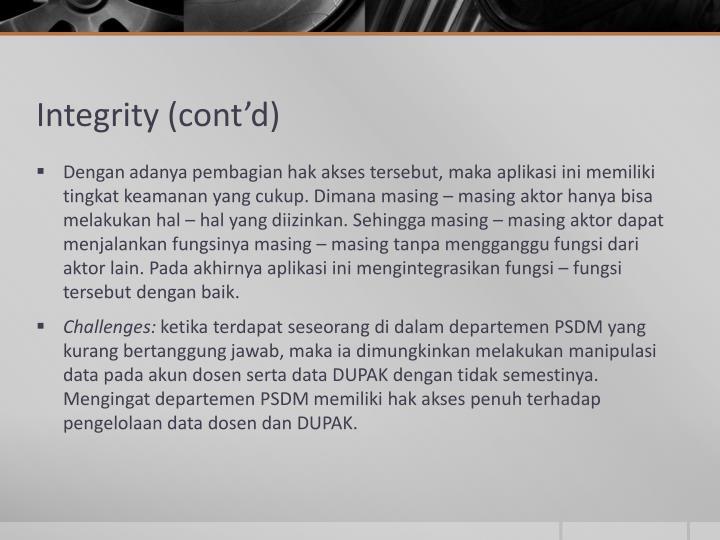 Integrity (cont'd)