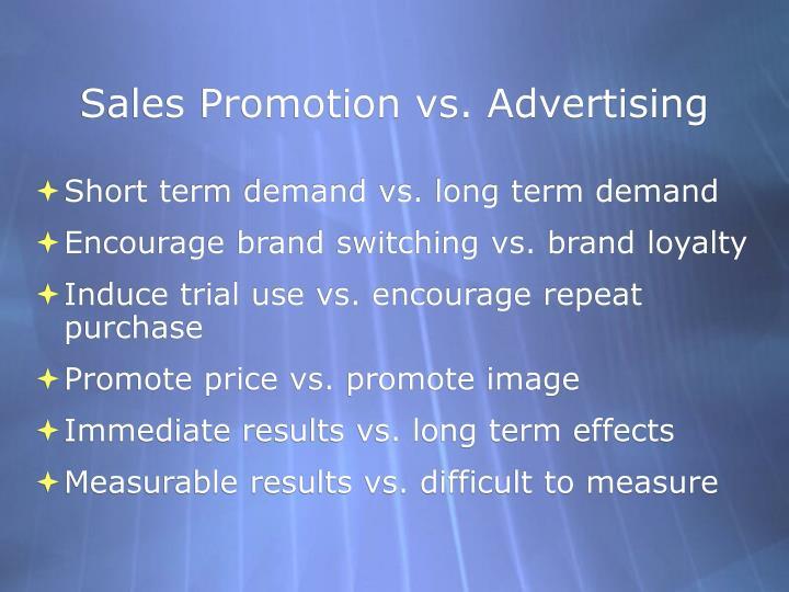 Sales Promotion vs. Advertising