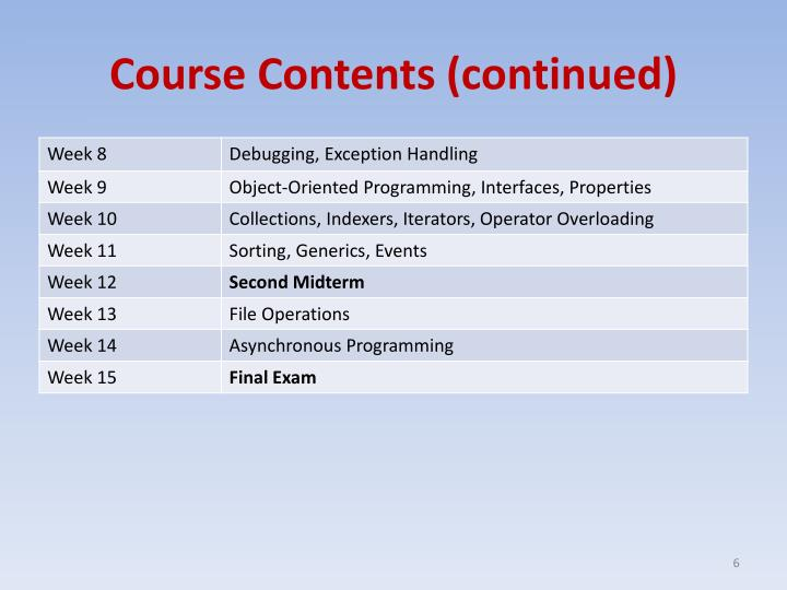Course Contents (continued)