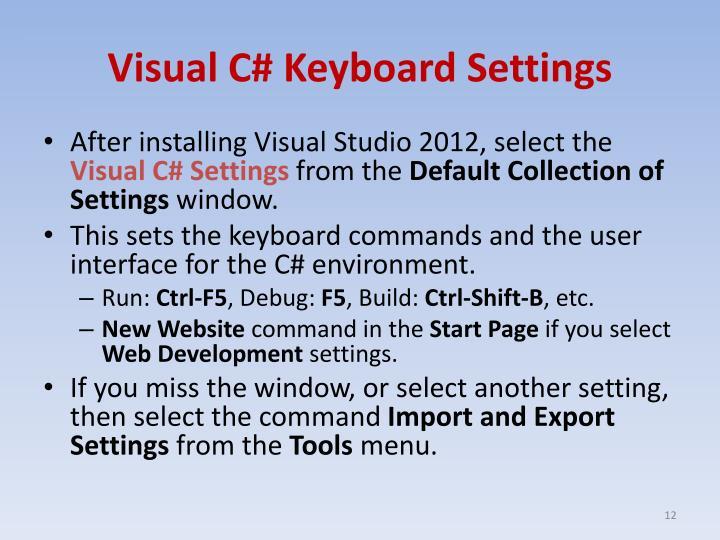 Visual C# Keyboard Settings