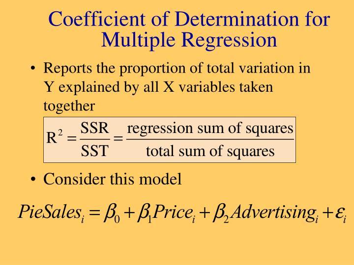 Coefficient of Determination for Multiple Regression