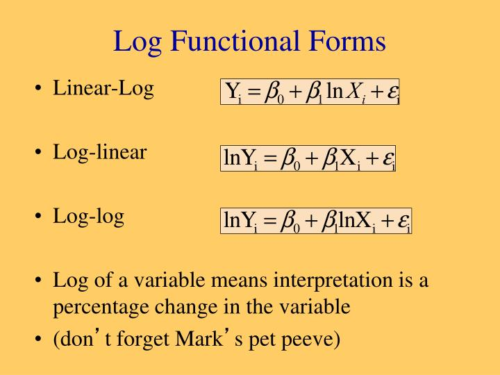 Log Functional Forms