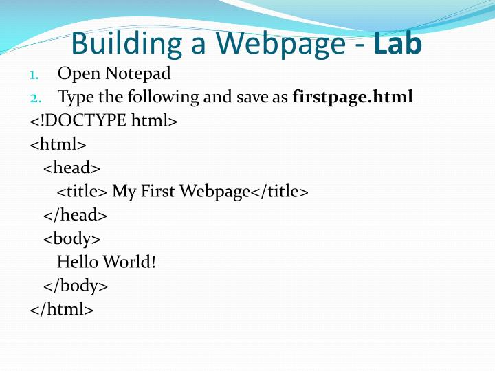 Building a Webpage -