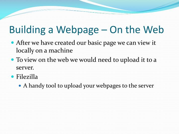 Building a Webpage – On the Web