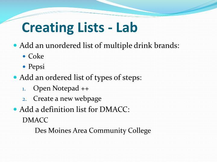 Creating Lists - Lab