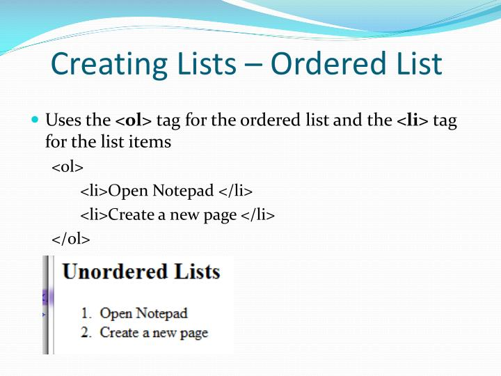 Creating Lists – Ordered List