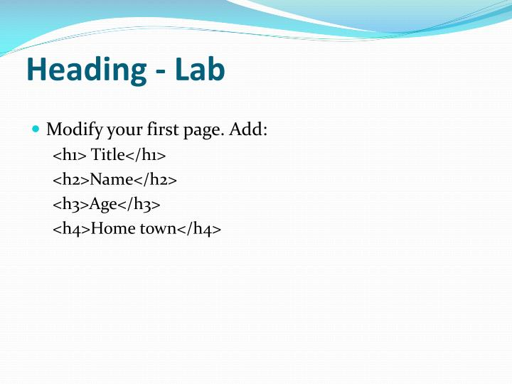 Heading - Lab