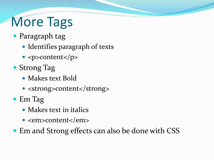 More Tags