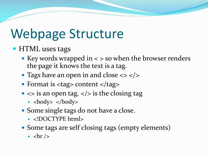 Webpage Structure