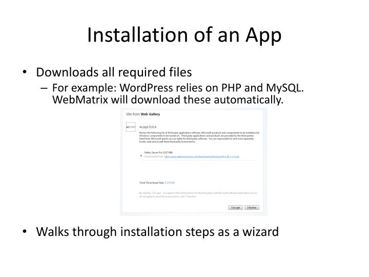 Installation of an App