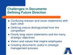 challenges in documents defining future direction