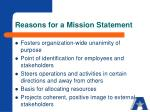 reasons for a mission statement