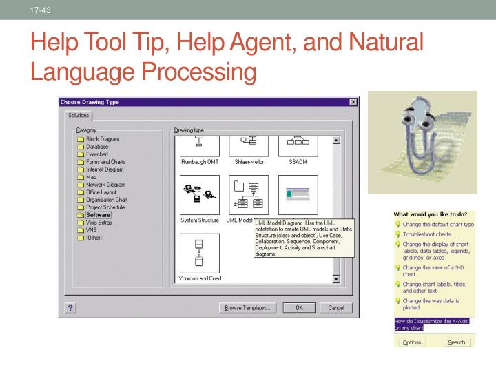 Help Tool Tip, Help Agent, and Natural Language Processing
