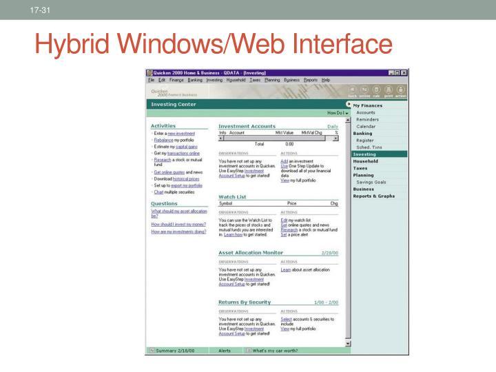 Hybrid Windows/Web Interface