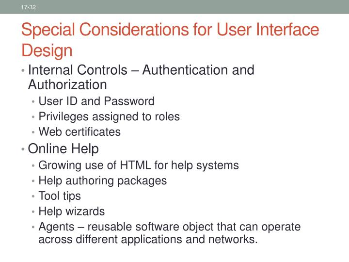 Special Considerations for User Interface Design