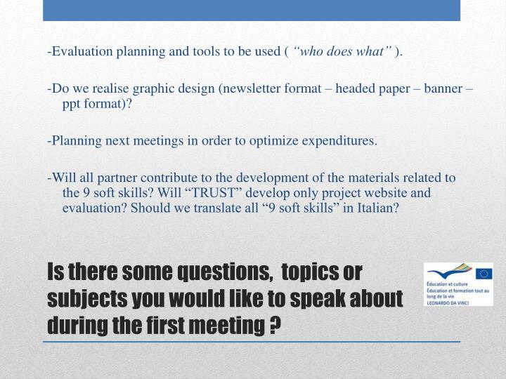 -Evaluation planning and