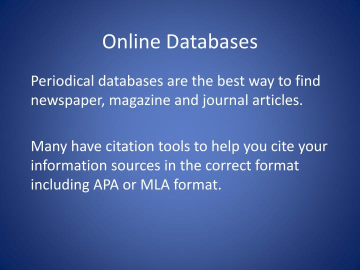 Online Databases