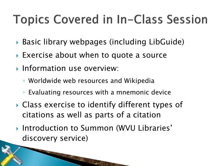 Topics Covered in In-Class Session