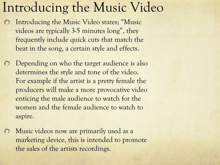 Introducing the Music Video