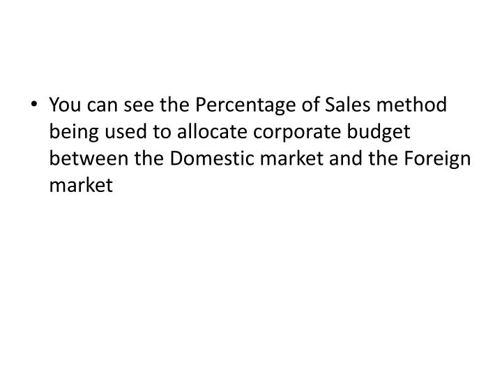 You can see the Percentage of Sales method being used to allocate corporate budget between the Domestic market and the Foreign market