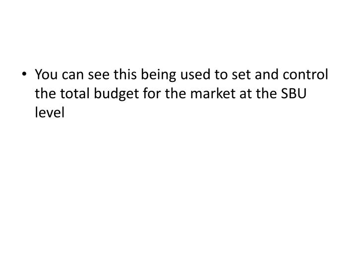 You can see this being used to set and control the total budget for the market at the SBU level