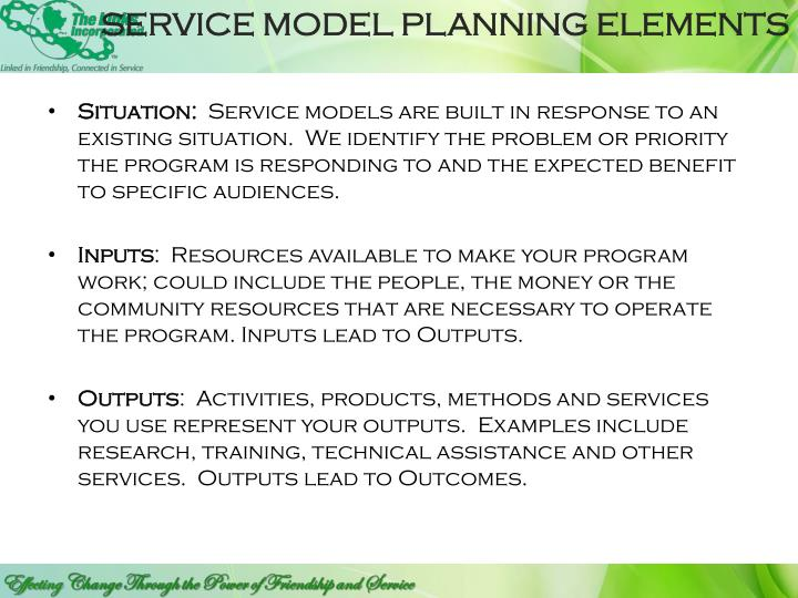 SERVICE MODEL PLANNING ELEMENTS