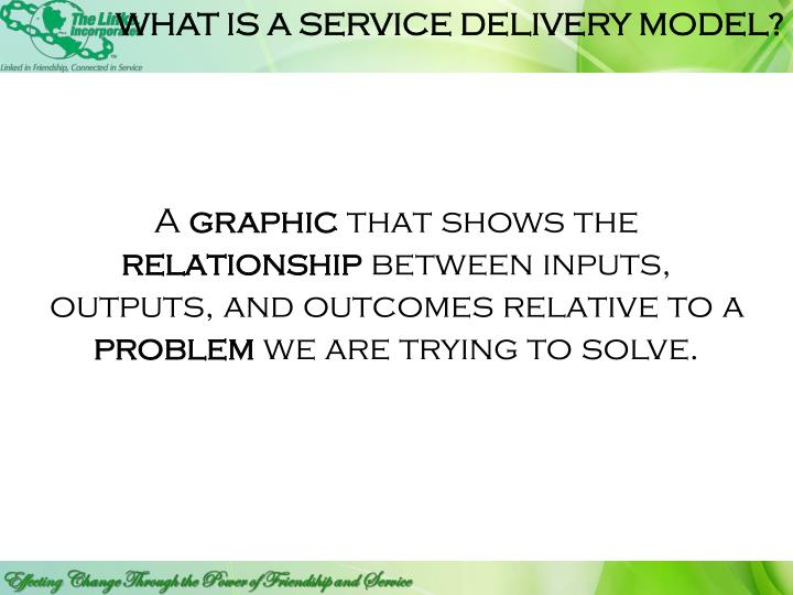 WHAT IS A SERVICE DELIVERY MODEL?