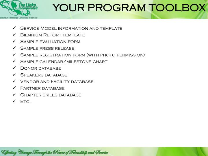 YOUR PROGRAM TOOLBOX