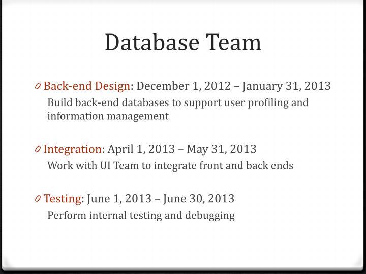 Database Team