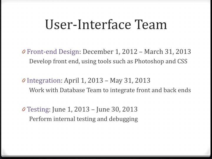 User-Interface Team