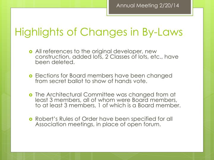 Annual Meeting 2/20/14