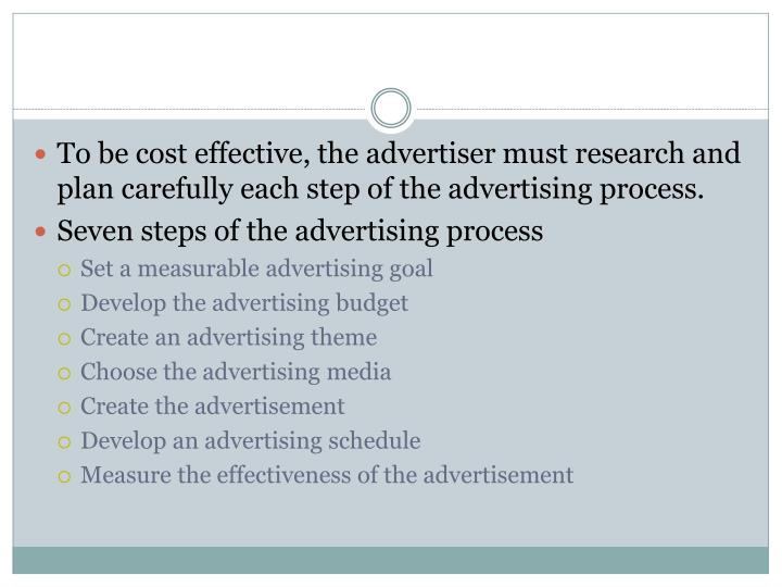 To be cost effective, the advertiser must research and plan carefully each step of the advertising process.
