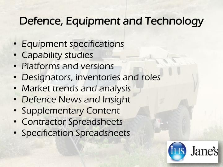 Defence, Equipment and Technology