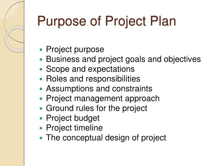 Purpose of Project Plan