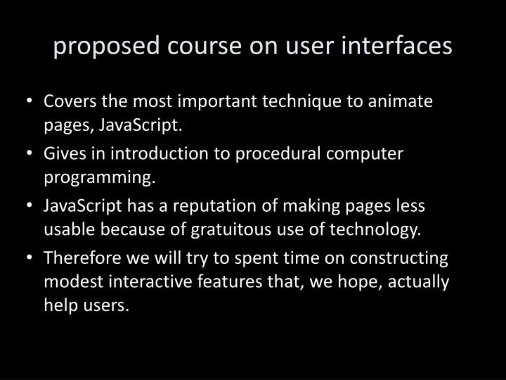 proposed course on user
