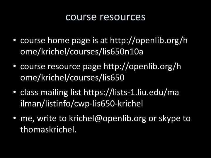 course resources