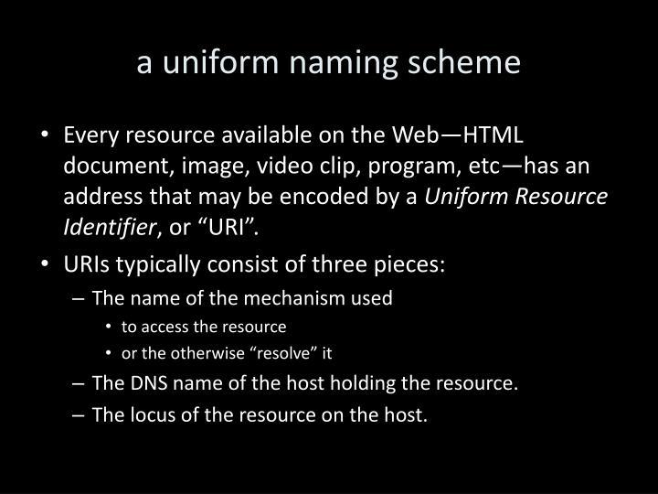 a uniform naming scheme