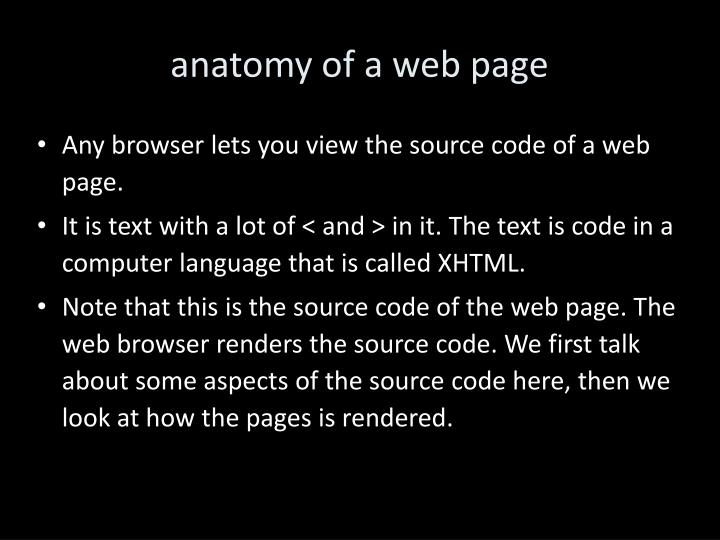anatomy of a web page