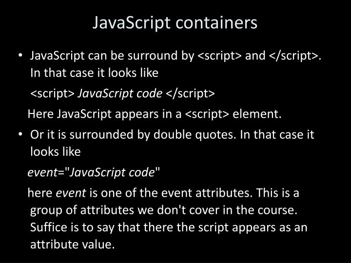 JavaScript containers