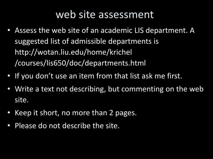 web site assessment