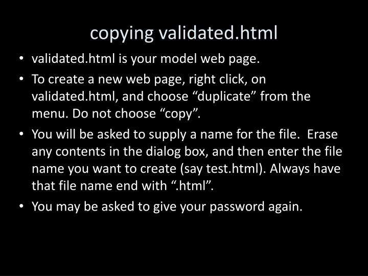 copying validated.html