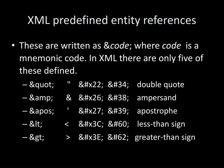 XML predefined entity references