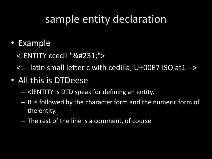 sample entity declaration