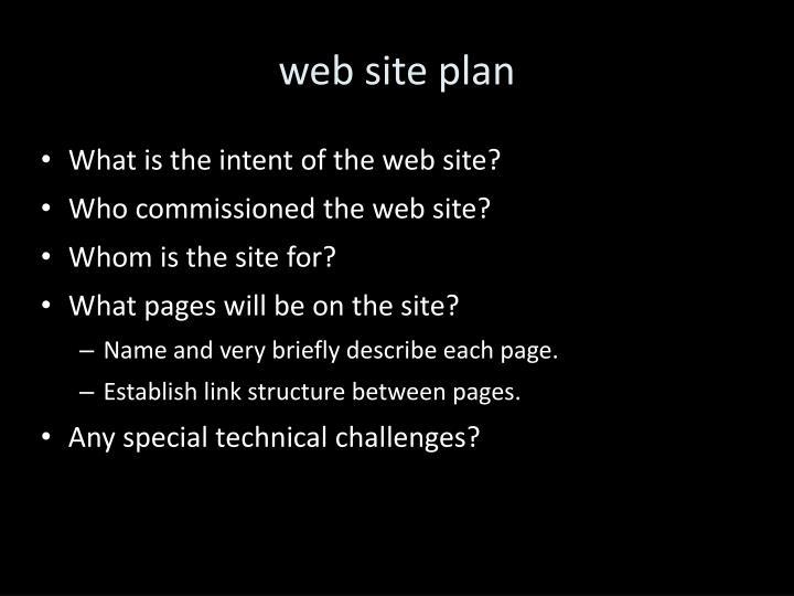 web site plan