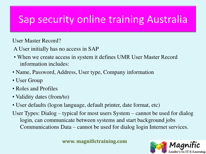 Sap security online training Australia