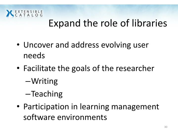 Expand the role of libraries