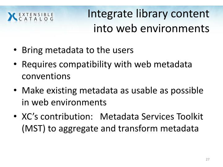 Integrate library content