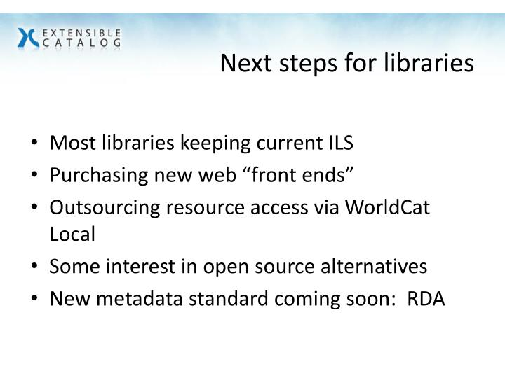 Next steps for libraries