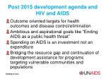 post 2015 development agenda and hiv and aids