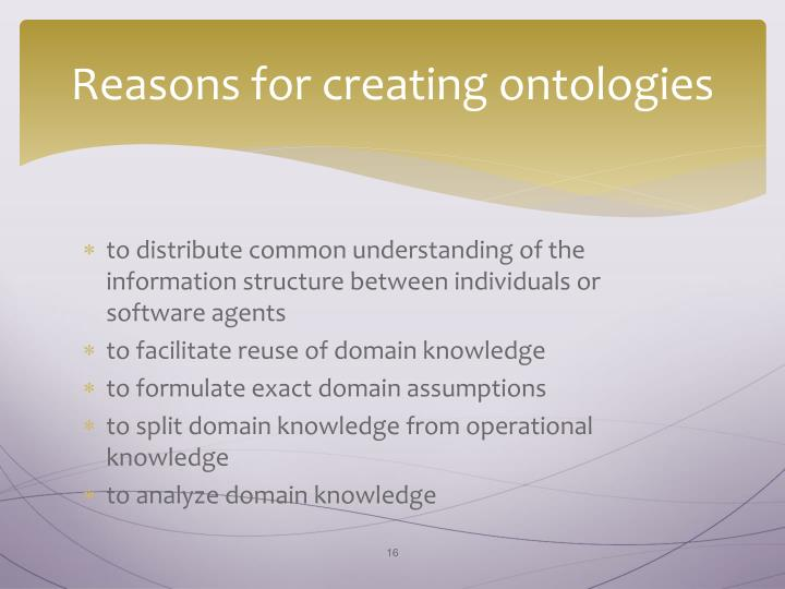 Reasons for creating ontologies